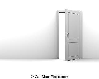 half open door background - 3d illustration of background...