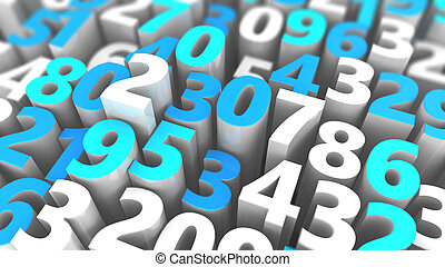 random numbers background - abstract 3d illustration of...