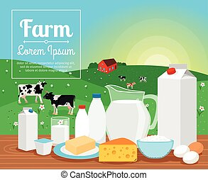 Milk farm dairy products on rural landscape with cows vector...