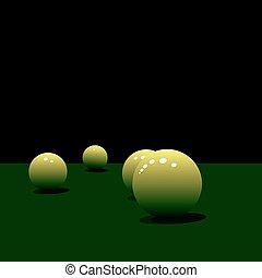 Glossy pool balls on the green velvet Vector