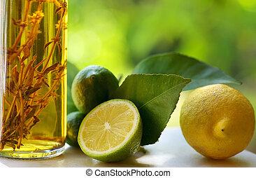 Lemons and vinegar. -  Lemons and vinegar.
