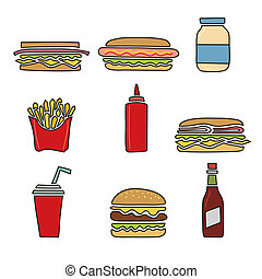 Fast food icons doodles set
