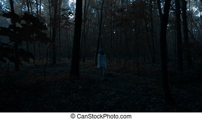 Woman back view in forest - Back view of beautiful woman in...