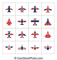 Set color icons of planes isolated on white Vector...