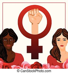 Vector illustration with women and feminist sign - Vector...
