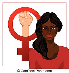 Vector illustration with woman and feminist sign - Vector...