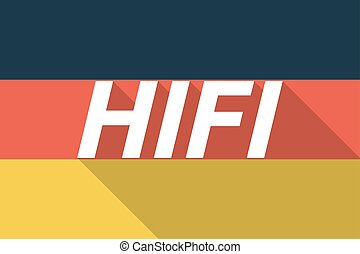 Vector long shadow Germany flag with the text HIFI -...