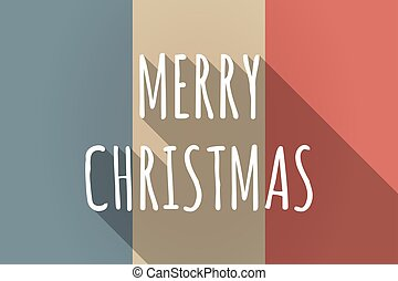 Vector long shadow France flag with    the text MERRY CHRISTMAS