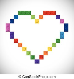 Lego icon. Abstract heart figure. Vector graphic - Lego...