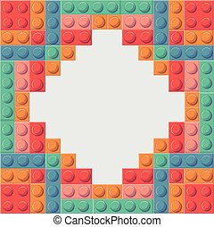 Lego icon. Abstract frame figure. Vector graphic - Lego...