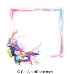 Vector rainbow frame with flower in corner on white background