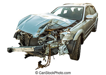 the car wreck - a broken car wreck on white background