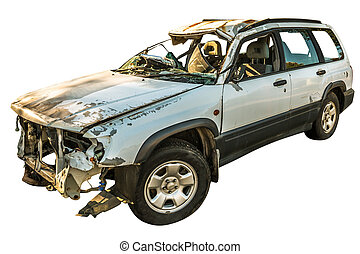 Damaged car wreck - Damaged white car wreck on white...