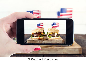 American cuisine - Photographing American mini beef burgers...
