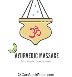 Ayurveda shirodhara treatment logo, vector illustration....