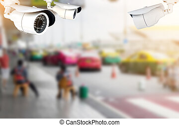 CCTV or surveillance camera in the airport. - CCTV or...