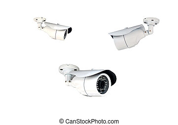 Group of security cameras (CCTV) on white background.