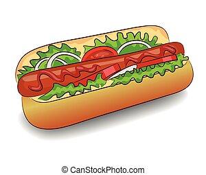 Vector Hot Dog with ketchup