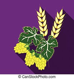 Ears of barley and hop cones with leaves. Vector image in flat style