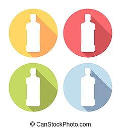 Shampoo Bottle Flat Icons Set - Shampoo Bottle Flat Style...