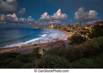 Tel-Aviv - The city of Tel Aviv at night. Israel