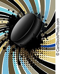 Hockey Puck on Background with Rays - Ice hockey puck on...