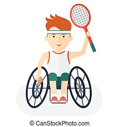 Handicapped athlete tennis player - Disabled yang athlete in...