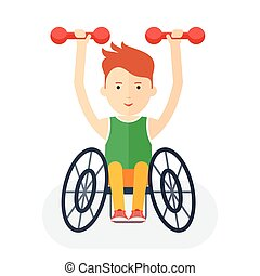 Handicapped athlete with dumbbells - Disabled yang athlete...