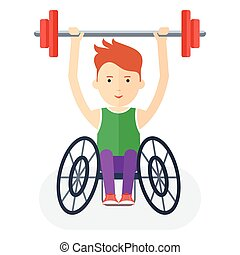 handicapped athlete with barbell - Disabled yang athlete in...