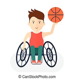 Handicapped athlete basketball - Disabled yang athlete in...