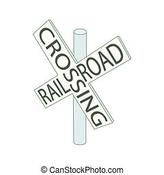 Railroad crossing sign icon, cartoon style