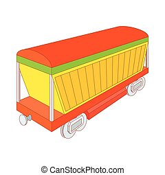 Covered freight wagon icon, cartoon style - Covered freight...