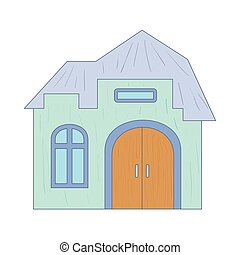 Light blue cottage with an arched door icon in cartoon style...