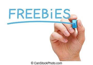 Freebies Blue Marker - Hand writing Freebies with blue...
