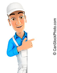 3d painter pointing to right blank wall, illustration with...
