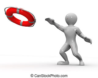 Men with life preserver 3d
