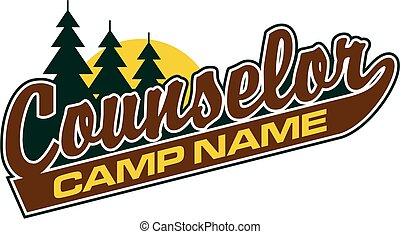 camp counselor - counselor logo design in script with tail...