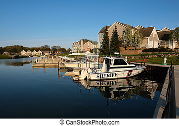 Marina on Lake Huron at Port Austin, MI, USA