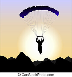 Realistic illustration parachutist of sunrise - vector
