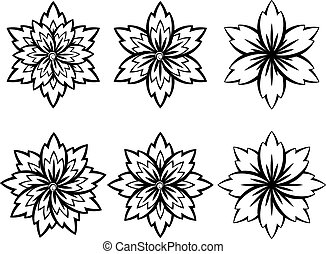 Simple Black and White Flowers - Set of different stylistic...