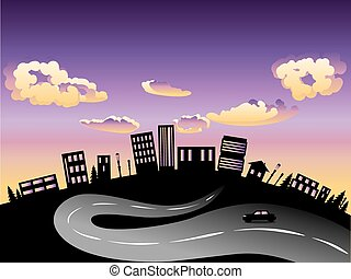Sunset City and Road Silhouette