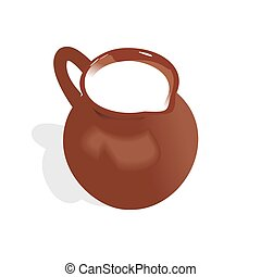 Illustration of jug with milk - vector