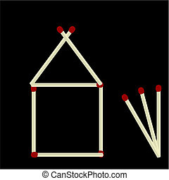 House made of matches isolated