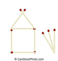 Illustration house made of matches isolated on white -...