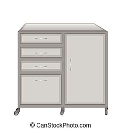 Medical table on castors - Vector illustration of a medical...