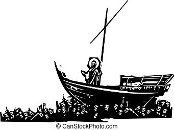 Christ on Boat - Woodcut style expressionist images of...