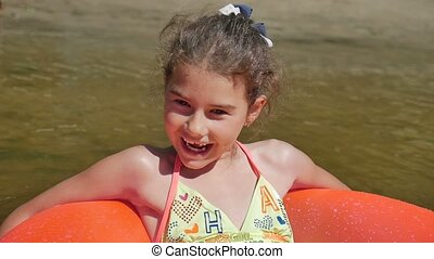 teen girl relaxation floating rubber disc river vacation...