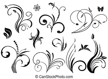 Floral vector elements in various styles. Vector