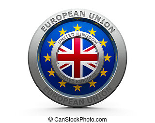 Brexit - Emblem - Flags of European Union and United Kingdom...