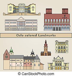 Oslo colored Landmarks in editable vector file